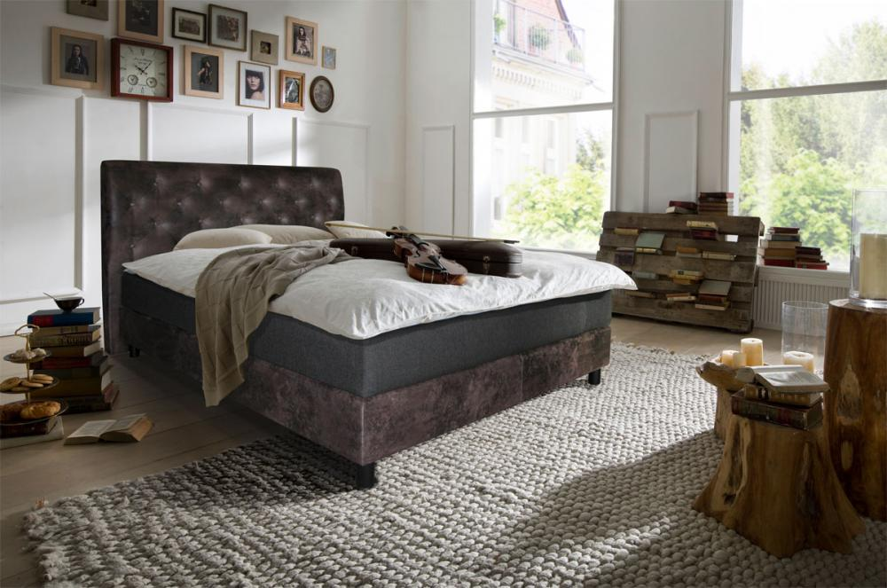 180x200 boxspring bett in b ffellederoptik taschenfederkern matratze topper ebay. Black Bedroom Furniture Sets. Home Design Ideas
