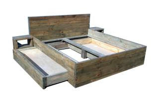 Massivholz Vintage-Bett und Bettkasten