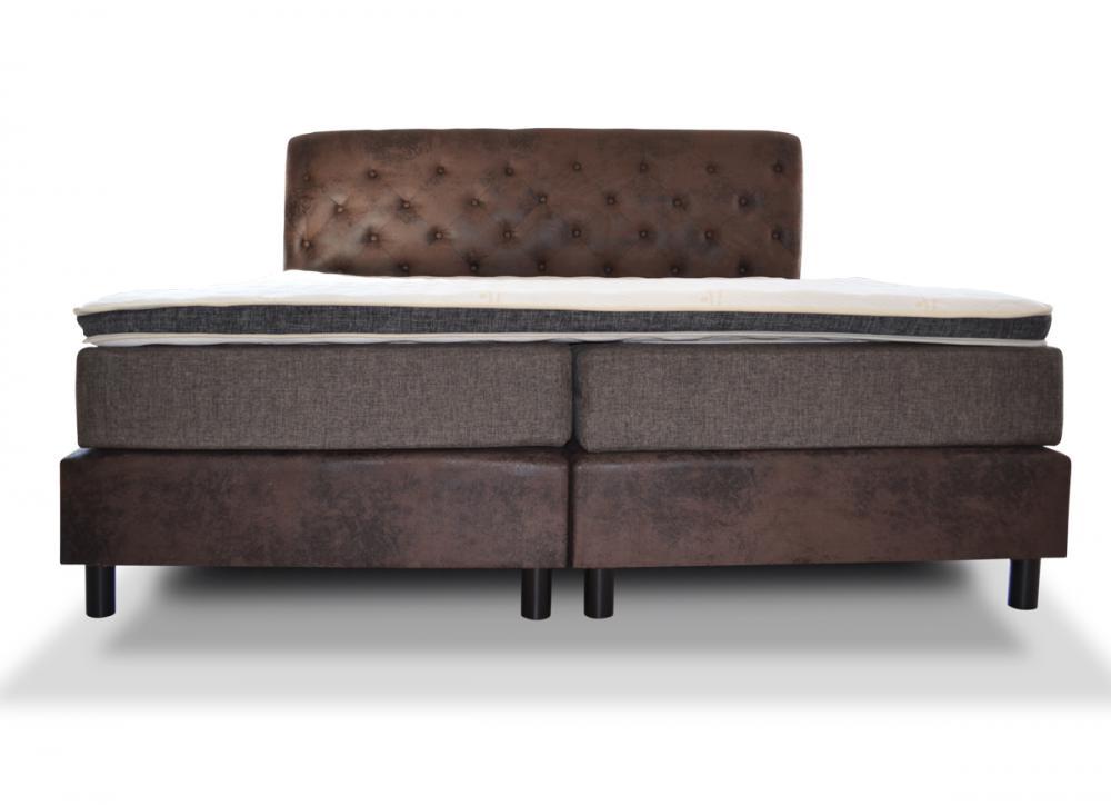 180x200 boxspring bett in b ffellederoptik taschenfederkern matratze topper ebay. Black Bedroom Furniture Sets. Home Design Ideas